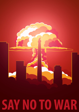 atomic bomb: Nuclear Explosion in the city. North Korea Say no to war. Cartoon Retro poster. Vector illustration