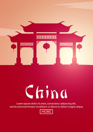 Travel poster to China. Landmarks silhouettes. Vector illustration