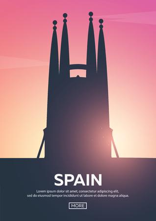 Reisposter naar Spanje. Bezienswaardigheden silhouetten. Vector illustratie.
