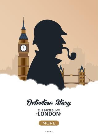 Cartel de Sherlock Holmes. Ilustración del detective. Ilustración con Sherlock Holmes. Calle Baker 221B. Londres. Big Ban. Foto de archivo - 77475095