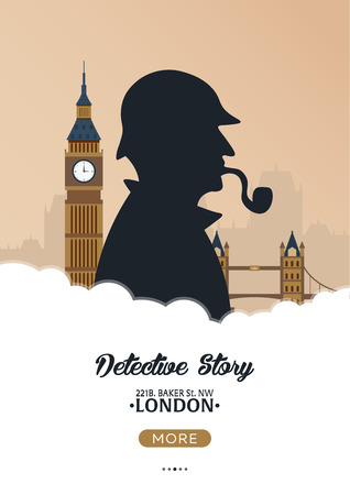 Sherlock Holmes poster. Detective illustration. Illustration with Sherlock Holmes. Baker street 221B. London. Big Ban.