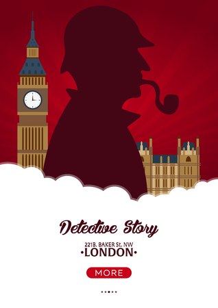 vintage telephone: Sherlock Holmes poster. Detective illustration. Illustration with Sherlock Holmes. Baker street 221B. London. Big Ban.