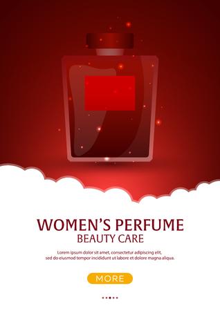 Perfume bottle. Womens Perfume. Beauty care. Template, mockup for ads, magazine branding Vector illustration