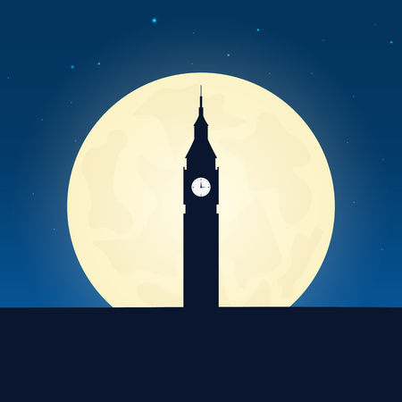 london night: England, London silhouette of attraction. Travel banner with moon on the night background. Trip to country. Travelling illustration Illustration