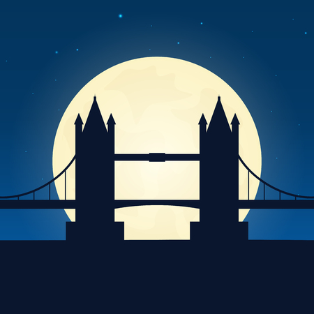 England, London silhouette of attraction. Travel banner with moon on the night background. Trip to country. Travelling illustration Illustration