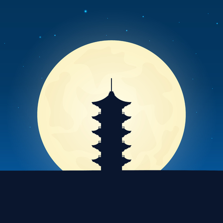 Japan silhouette of attraction. Travel banner with moon on the night background. Trip to country. Travelling illustration