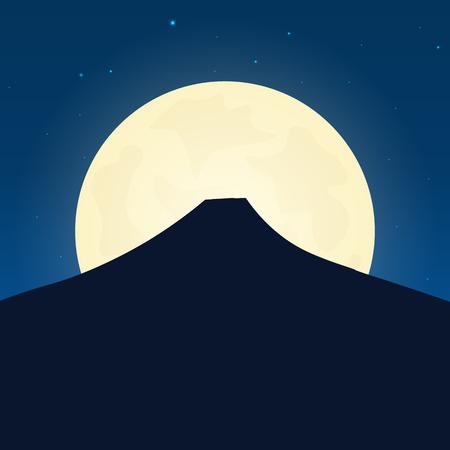 日本の魅力のシルエット。夜背景に月と旅行のバナーです。国への旅行。旅行のイラスト  イラスト・ベクター素材