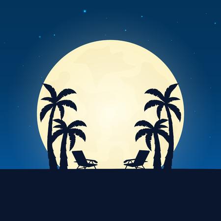 パーム ・ ラウンジの椅子のシルエット。月が夜背景とバナーします。ベクトル図