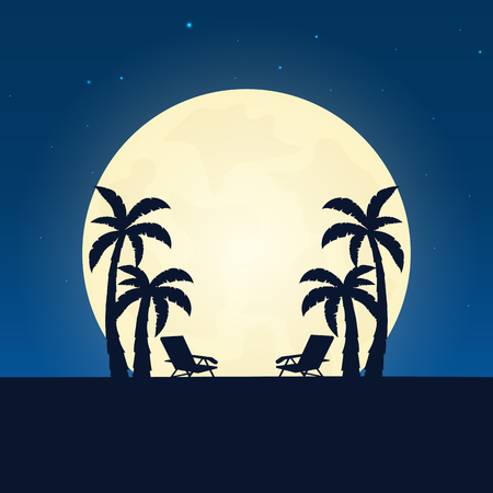 Palm and lounge chair silhouette. Banner with moon on the night background. Vector illustration