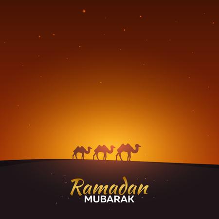 Ramadan Kareem. Ramadan Mubarak. Greeting card. Arabian night and camels Illustration