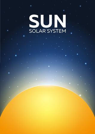 Poster Sun and Solar System. Space background Illustration