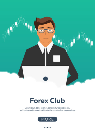 stock quotes: Poster Forex trading. Forex online, online trading. Stock market analysis, finance. Flat style illustration