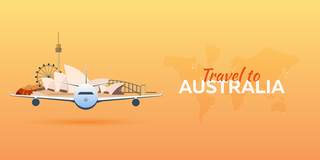 sydney skyline: Travel to Australia. Airplane with Attractions. Travel vector banners. Flat style