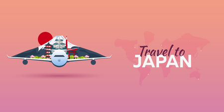 Travel to Japan. Airplane with Attractions. Travel vector banners. Flat style