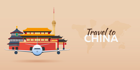 Travel to China. Airplane with Attractions. Travel vector banners. Flat style