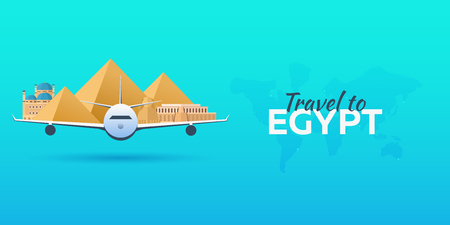 Travel to Egypt. Airplane with Attractions. Travel vector banners. Flat style