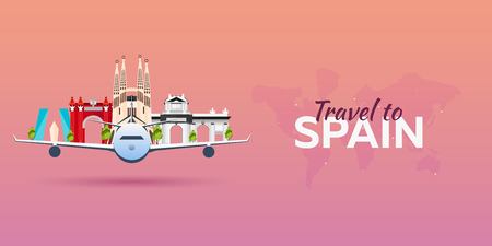 Travel to Spain. Airplane with Attractions. Travel vector banners. Flat style Vettoriali