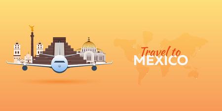 angel de la independencia: Viaje a .Aeropuerto de México con Atracciones. Viajes banners vectoriales. Estilo plano