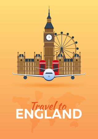 bigben: Travel to England. Airplane with Attractions. Travel vector banners. Flat style
