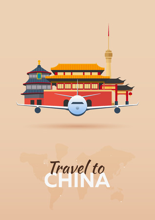 anhui: Travel to China. Airplane with Attractions. Travel vector banners. Flat style