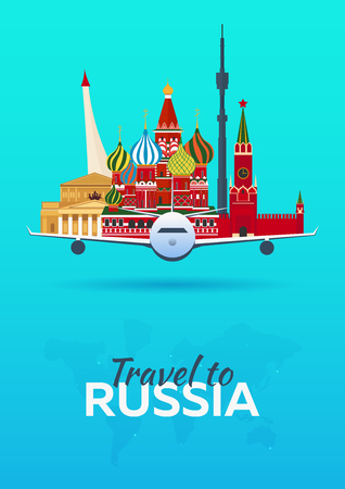 Travel to Russia. Airplane with Attractions. Travel vector banners. Flat style