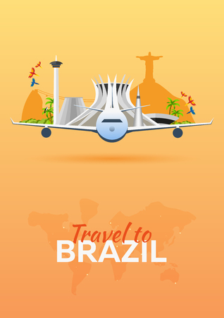 mainland: Travel to Brazil. Airplane with Attractions. Travel vector banners. Flat style Illustration