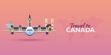 Travel to Canada. Airplane with Attractions. Travel vector banners. Flat style