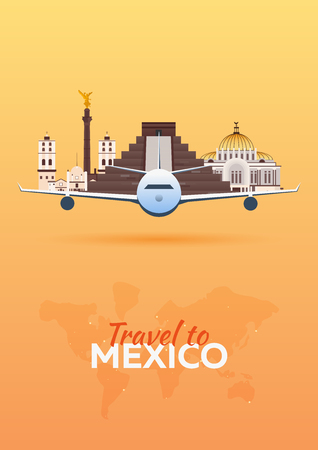 Travel to .Mexico Airplane with Attractions. Travel vector banners. Flat style Illustration