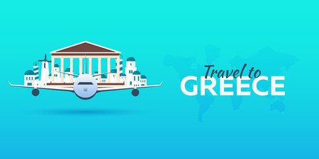 Travel to Greece. Airplane with Attractions. Travel vector banners. Flat style