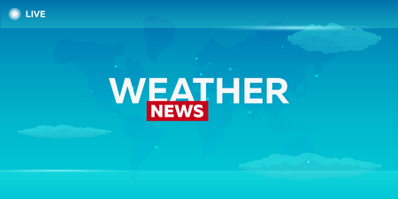 Mass media. Weather news. Breaking news banner. Live. Television studio TV show