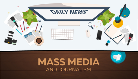 exclusive: Mass media and journalism. Work place. Vector illustration