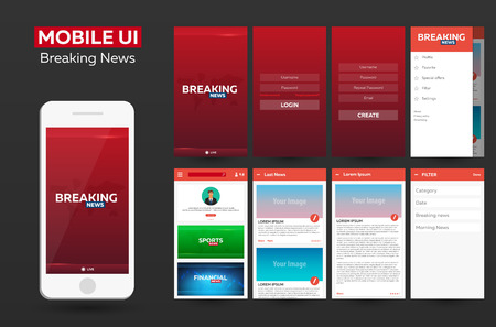 Mobile app Breaking News Material Design UI, UX, GUI. Responsive website Illustration