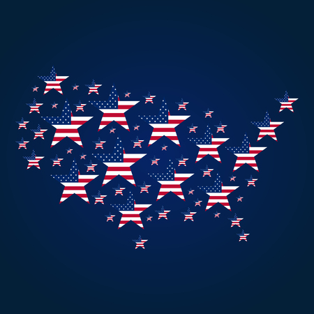 American Independence Day. 4th July. Template background for greeting cards, posters, leaflets and brochure. Vector illustration