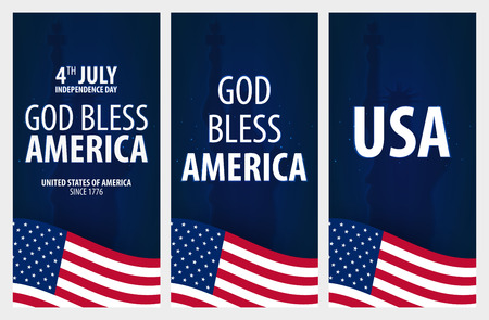 American Independence Day. God Bless America. 4th July. Template background for greeting cards, posters, leaflets and brochure. Vector illustration