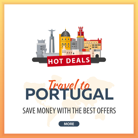 Travel to Portugal. Travel Template Banners for Social Media. Hot Deals. Best Offers 矢量图像