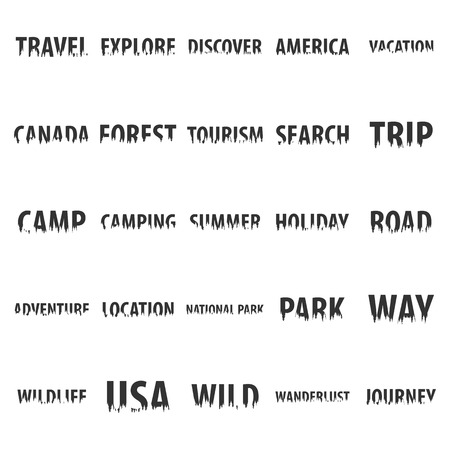 wandering: Set of travel labels with silhouette of forest