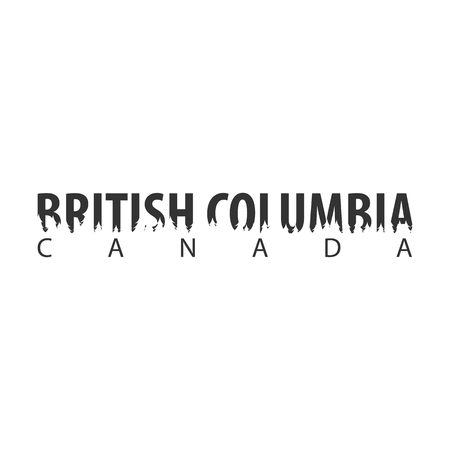 British Columbia. Canada. Text or labels with silhouette of forest