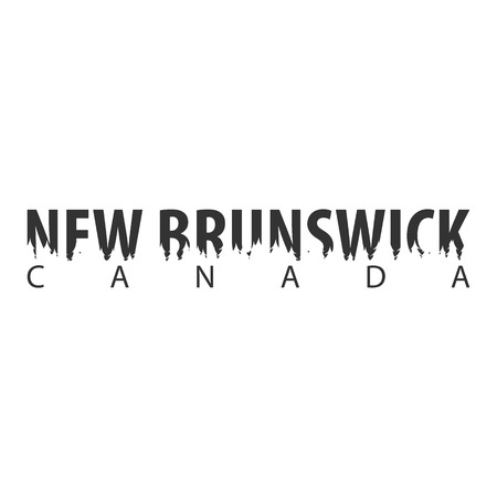 New Brunswick. Canada. Text or labels with silhouette of forest Illustration