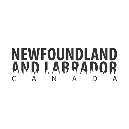Newfoundland and Labrador. Canada. Text or labels with silhouette of forest