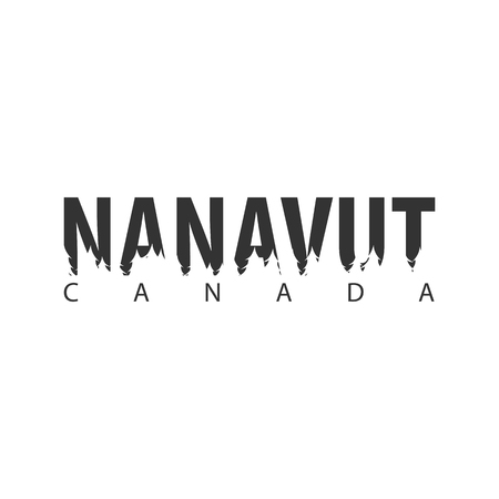 Nanavut. Canada. Text or labels with silhouette of forest Illustration