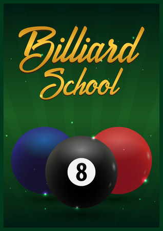 Billiard school poster on a green background. Vector illustration