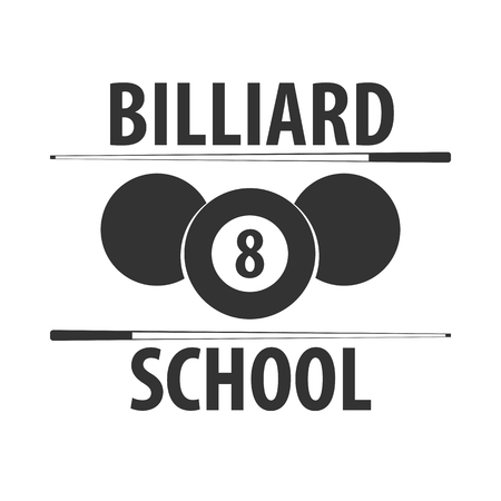 Logo for Billiard school, club or shop. Vector illustration Illustration
