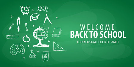Welcome Back to School banner with different school objects Illustration