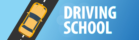 Driving School Banner: Auto Education and the rules of the road vector illustration