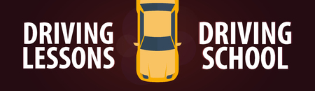 car speed: Driving School Banner. Auto Education. The rules of the road. Vector illustration