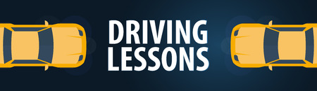 Driving School Banner: auto education and the rules of the road vector illustration Illustration