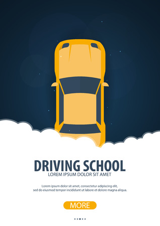 driver license: Driving School Banner. Auto Education. The rules of the road. Vector illustration