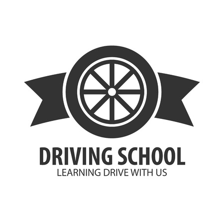 driver license: Driving school logo and emblem template. Auto education. Vector illustration