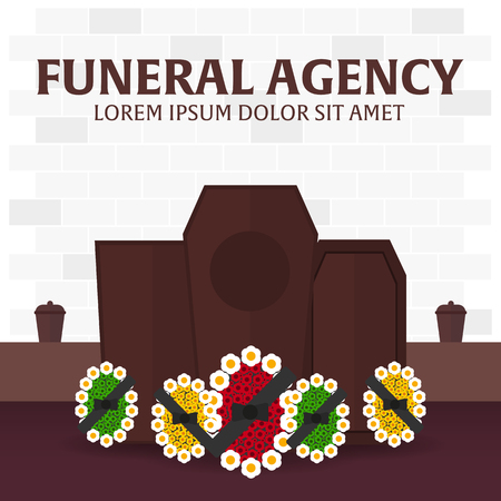 obituary: Funeral sevices and Funeral agency banner. Cemetery. Vector illustration