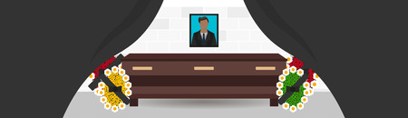 burial: Funeral services and funeral agency banner. Illustration